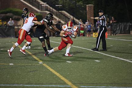 Ethan Fugitt intercepts a Mason Bendigo pass during Pittsburg State's 50-19 victory over Lindenwood.