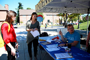 Megan Weigert stops by to register to vote during the Voter Registration event hosted by the Legacy and Lindenlink.com.  Photo by Mili Mena