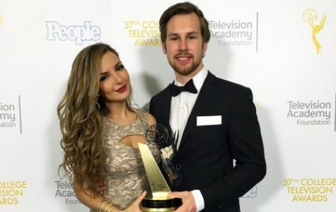 Julius Damenz (right) with his girlfriend Alejandra Soto (left) at the  the 37th College Emmy Awards that took place May 25 at Los Angeles' Skirball Cultural Center.