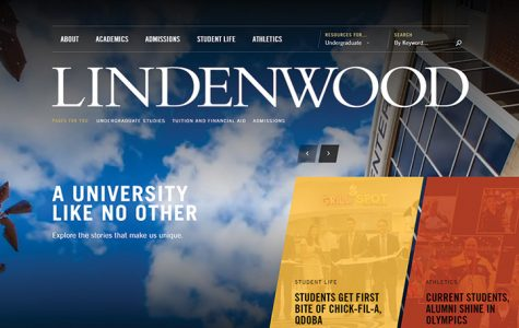 The home page of the Lindenwood University website, which was launched in September. Photo courtesy of Scott Queen
