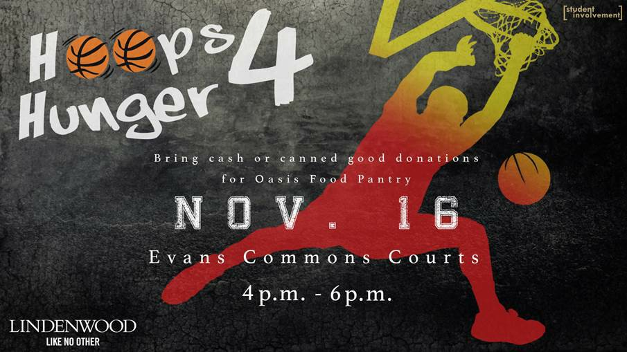 A flyer for the Hoops for Hunger event, set for Wednesday in Hyland Arena.