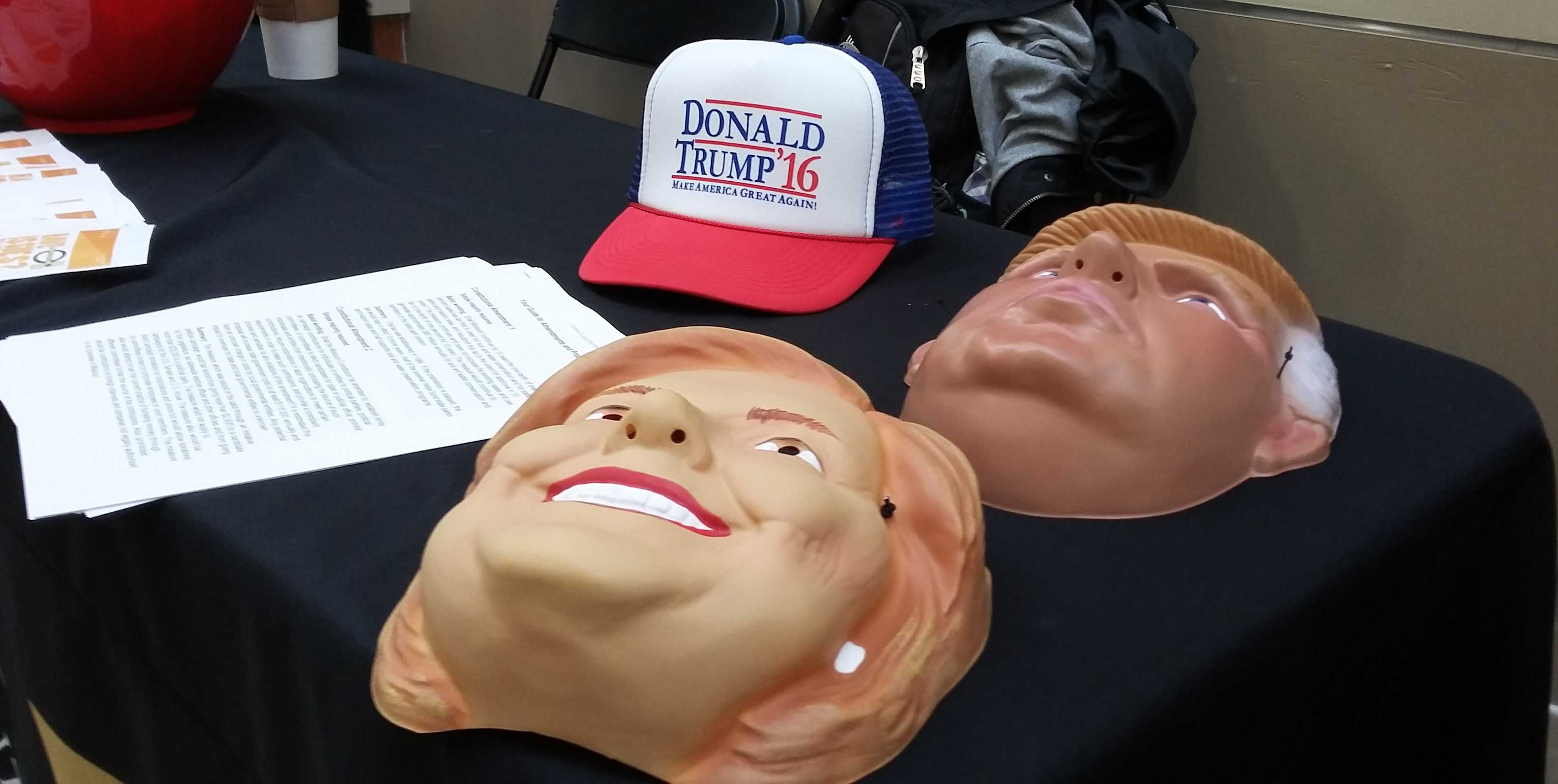 Photo by Tyler Tousley Masks of Donald Trump and Hillary Clinton were available for students to try on and take pictures in.