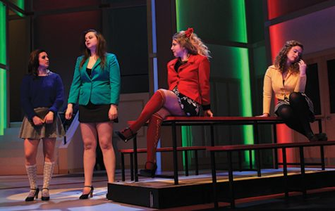 "(From left to right) Natalie Krivokuca, as Veronica Sawyer, and the three Heathers played by Laura Schulze, Brie Howard and Alyssa Durbin are onstage in a technical rehearsal in the Lindenwood Theater only a week before ""Heathers: The Musical"" opens. <br>Photo by Lindsey Fiala"