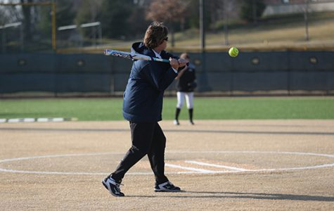 Head coach Liz Kelly winds up to take a swing during practice at Lindenwood's Lou Brock Sports Complex. <br> Photo by Carly Fristoe