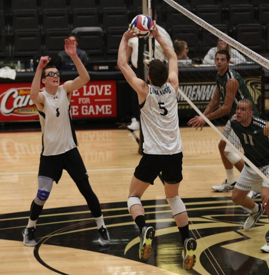 Lindenwood's Adam Brewster sets up for Sam Schindler. Photo by Carly Fristoe