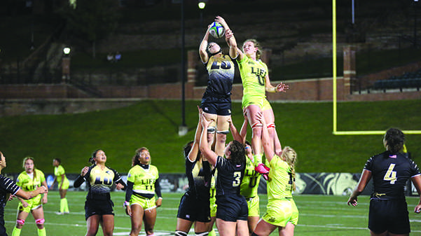 Lindenwood women's rugby team lines out against Life University on Nov. 22, 2016, in Hunter Stadium. The game ended in a historic first-time win for the Lions against the Running Eagles.Photo by Carly Fristoe