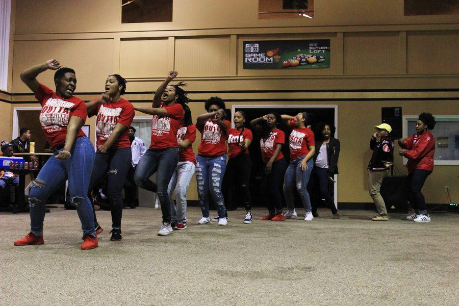 Delta Sigma Theta sorority members stroll at the BSU Greek Yard show in Butler Loft Thursday night.