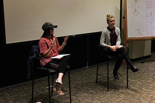 Haley Holman and Ilsa Dulle from Lindenwood's Campus Organization Against Sexual Assault lead the group discussion following the film 'Escalation' during the 'One Love Workshop' on April 11.
