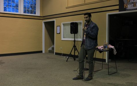 Comedian Gibran Saleem performed in Butler Loft as part of CAB's Friday Night Live series. <br> Photo by Lindsey Fiala