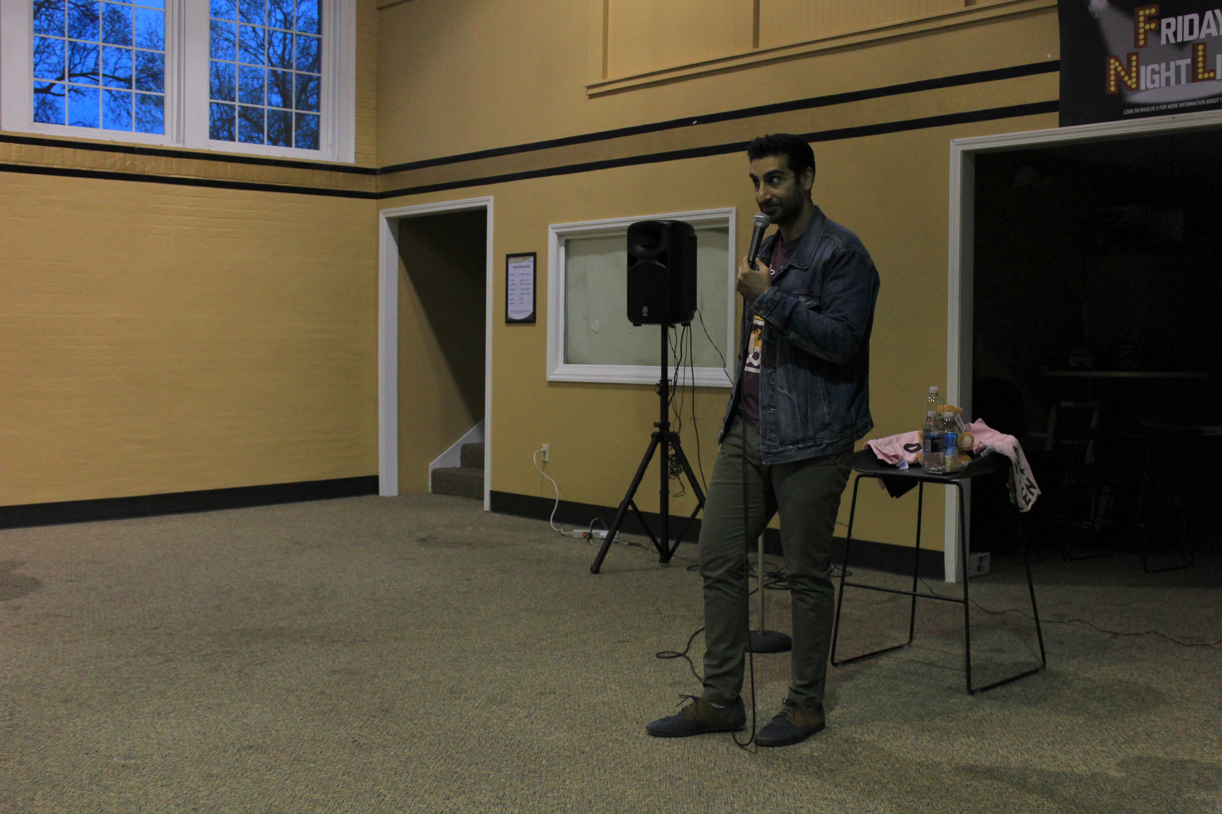 Comedian Gibran Saleem performed in Butler Loft as part of CAB's Friday Night Live series.  Photo by Lindsey Fiala