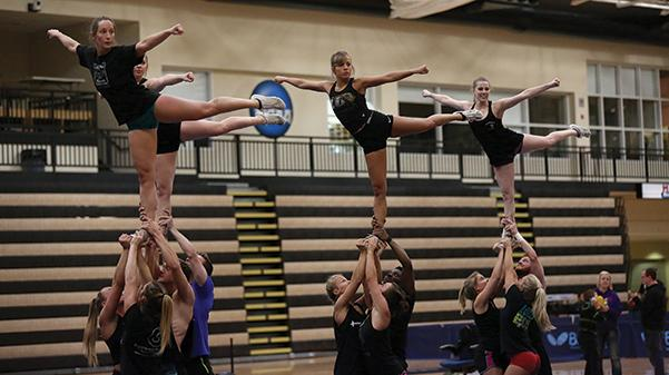 Lindenwood+cheerleaders+practice+their+stunts+March+30+in+Hyland+Arena+in+preparation+for+nationals.++Photo+by+Carly+Fristoe