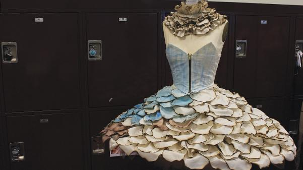 Lindenwood sophomore Anna Heinfold designed a dress that represents the melting of the icebergs at the Spring Fashion Show on May 4 at Mercedes-Benz of St. Louis. The show will represent a combination of undergraduate and alumni work. Photo by Lindsey Fiala