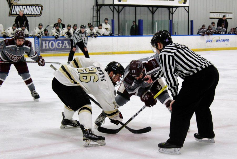 Lindenwood+player+Kyle+Van+Wyk+faces+off+against+a+Waldorf+University+player+during+a+hockey+game+at+the+Lindenwood+Ice+Arena+on+Feb.+3%2C+2017.+Photo+by+Madi+Nolte