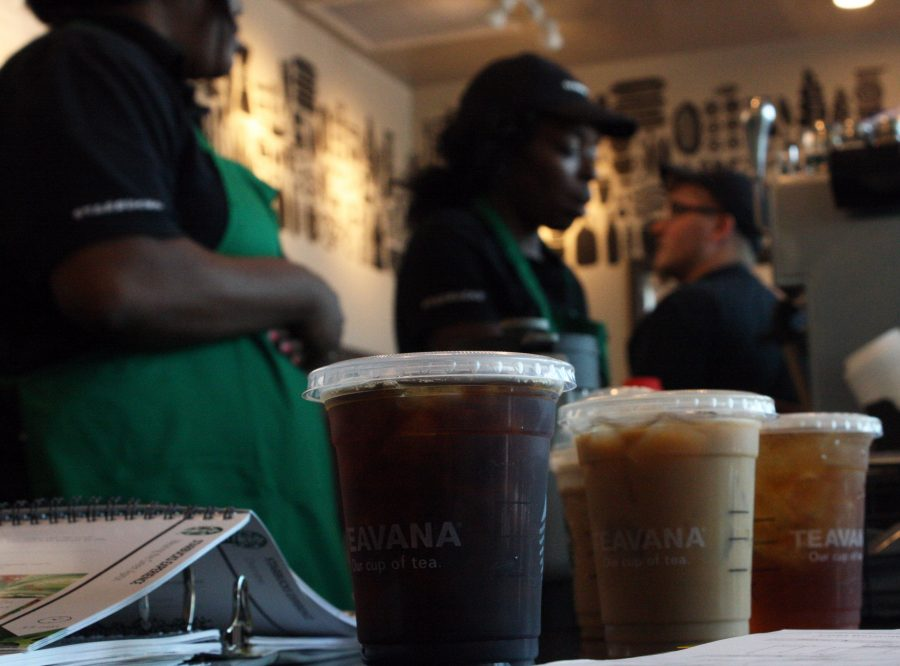 Baristas create different flavors of iced coffees during their shifts at the Lindenwood University Starbucks. The coffee shop had a soft opening on Aug. 14.