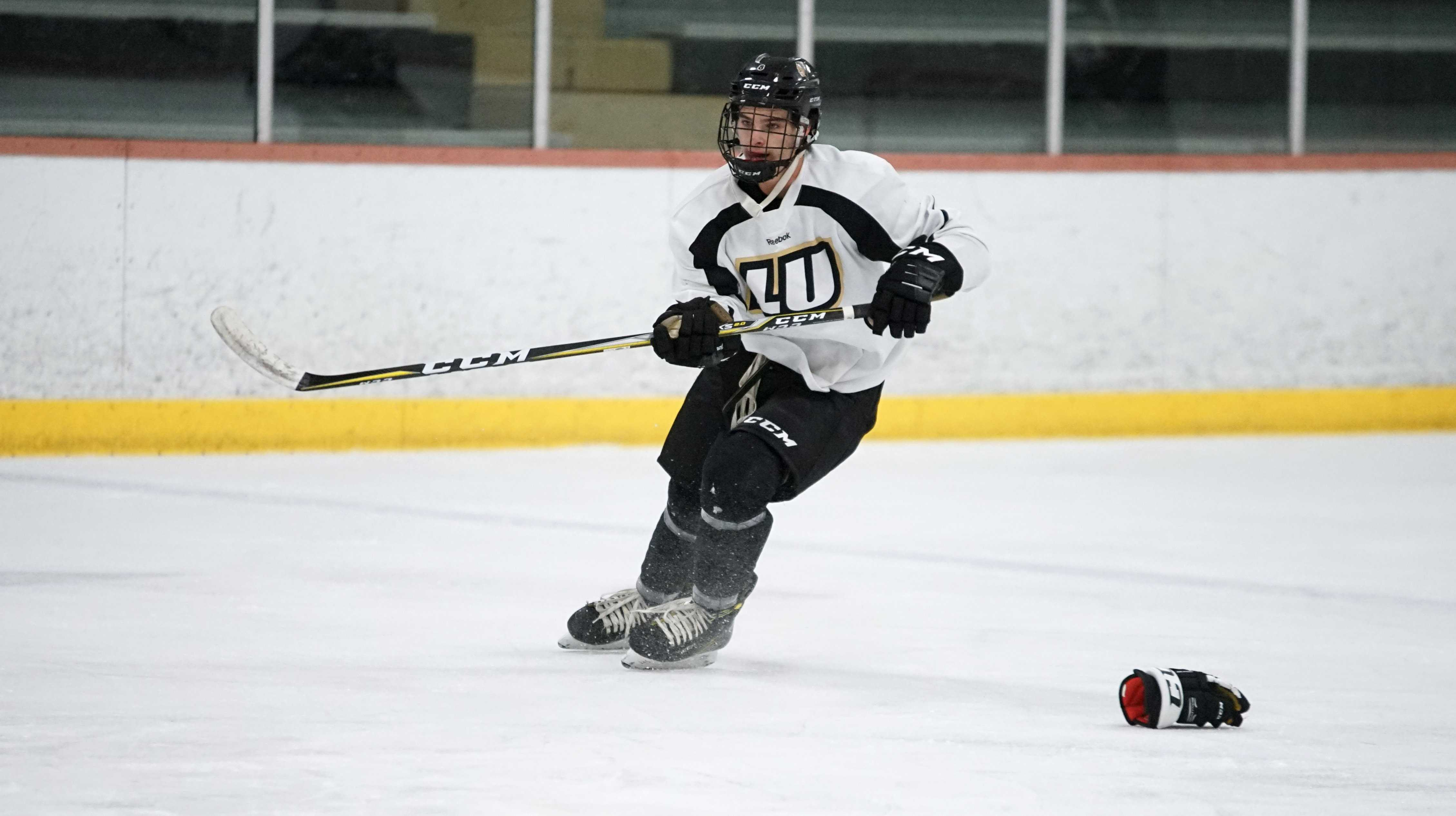 Men's ice hockey defender Austin Wilk at practice the day before this weekend's games.  Photo by Mitch Kraus