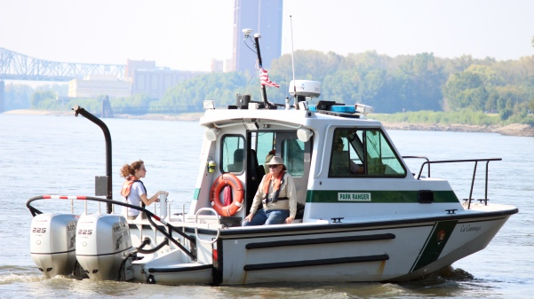 The anthropology department was granted funds by the Missouri Humanities Council to search for a sunken steamboat. The survey boat, Cal Cummings, is used for research across the country several months each year. Photo by Kyle Rainey