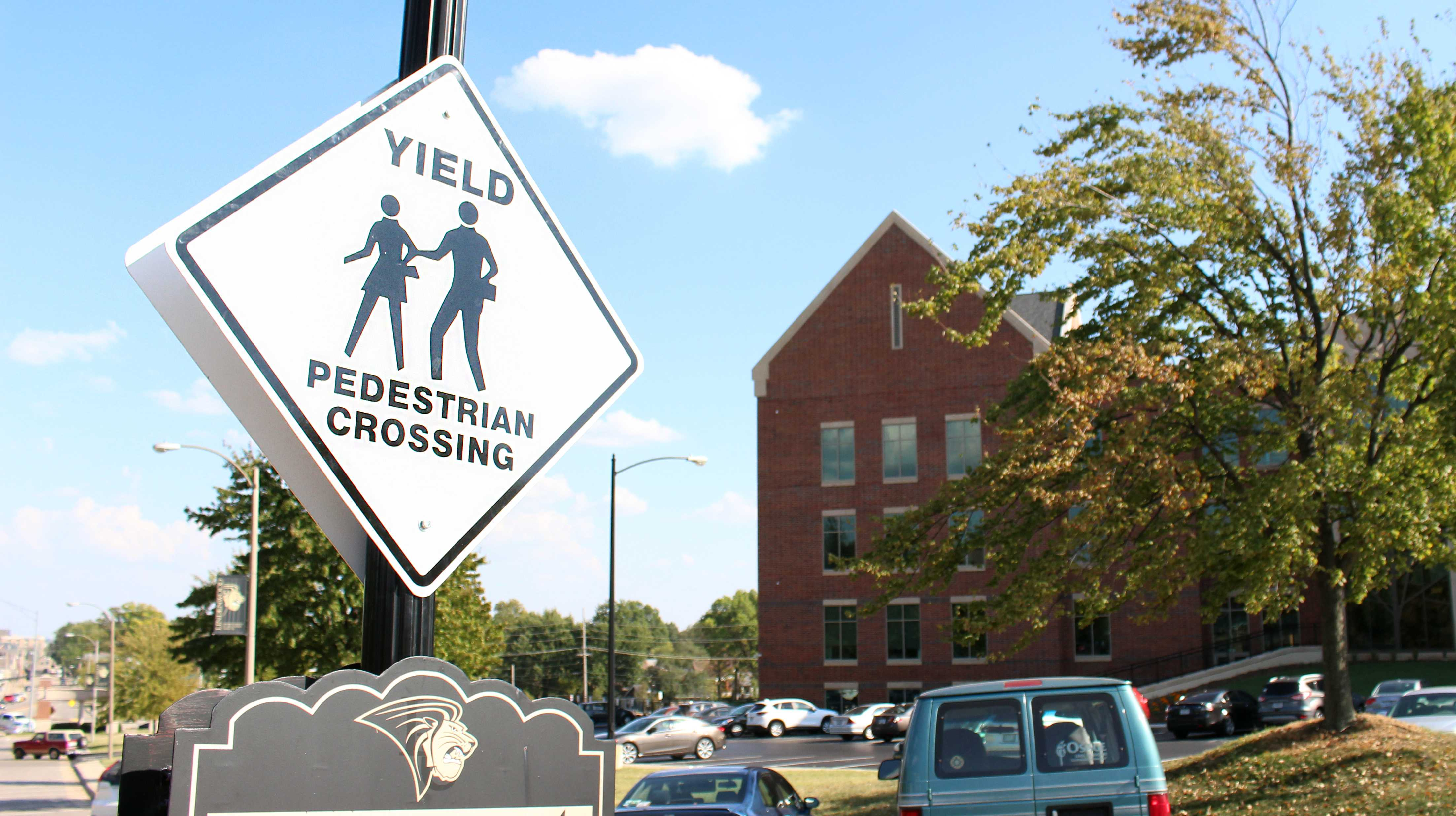 A new crosswalk was built in front of the Library and Academic Resource Center to help students cross a busy campus street.Photo by Kyle Rainey