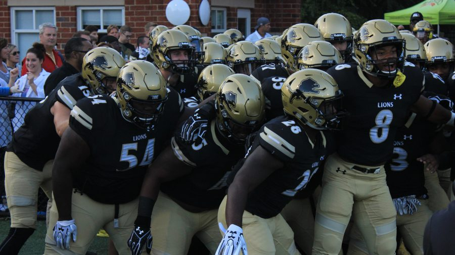 Lindenwood+football+players+run+out+for+their+home+game+against+Northeastern+State+University+%0A%0APhoto+by+Lindsey+Fiala