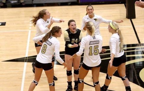 Lady Lions volleyball team celebrating after scoring a point. <br> Photo by Don Adams Jr