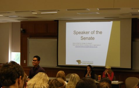 LSG Speaker of the Senate Nam Nguyen addresses the Assembly at the meeting on Wednesday Sept. 6.  <br> Photo by Matt Hampton.