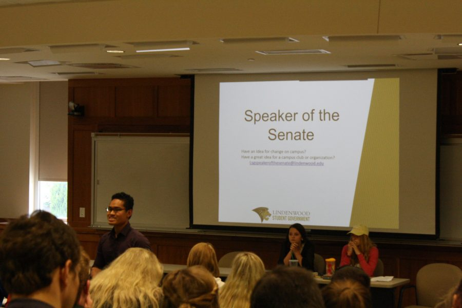 LSG Speaker of the Senate Nam Nguyen addresses the Assembly at the meeting on Wednesday Sept. 6.   Photo by Matt Hampton.