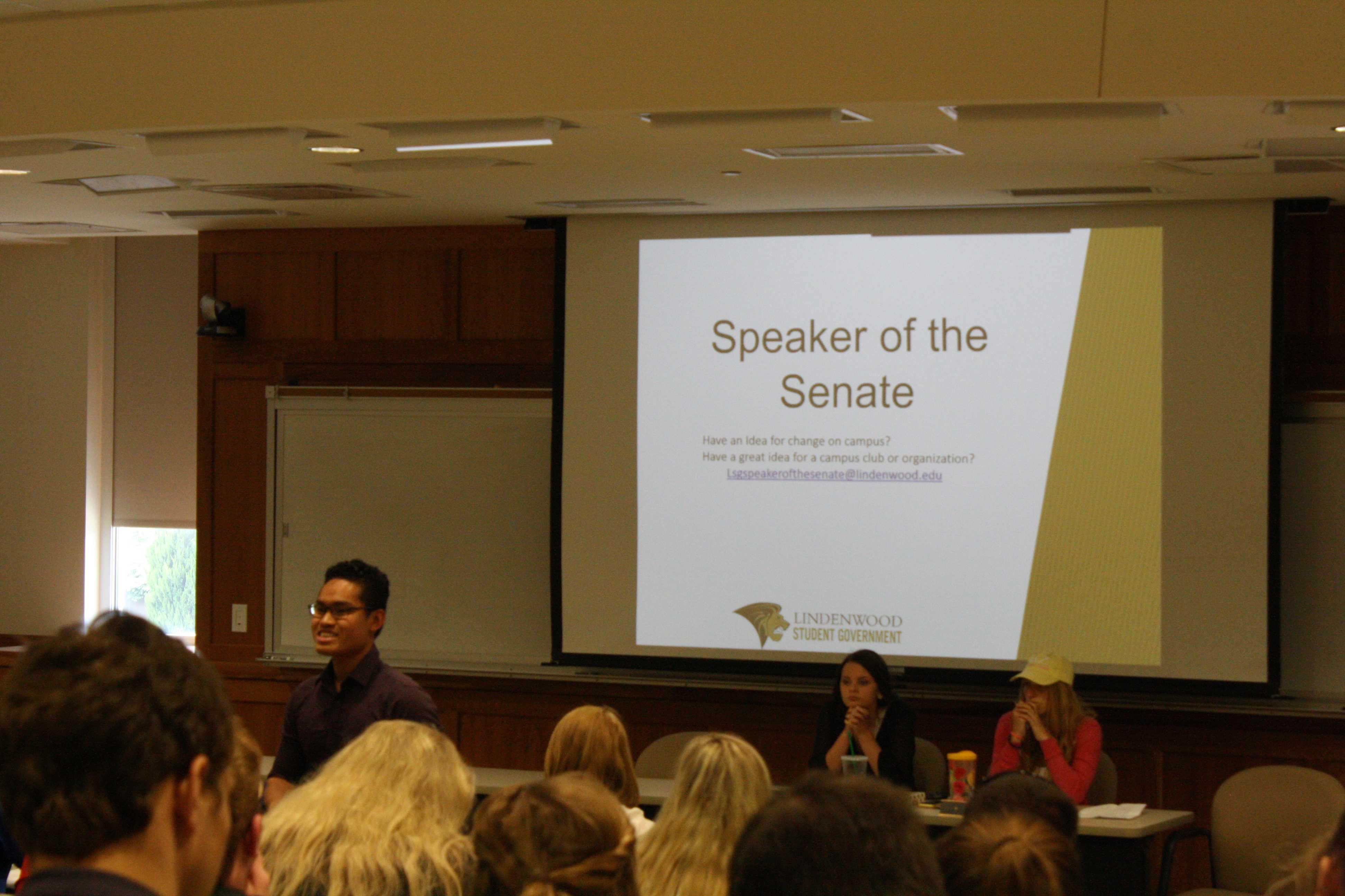 LSG Speaker of the Senate Nam Nguyen addresses the Assembly at the meeting on Wednesday Sept. 6.   Photo by Matt Hampton.
