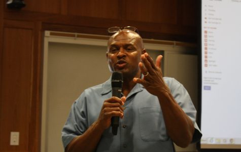 Ex-cop and associate professor of criminal justice Dr. Pernell Witherspoon, spoke passionately at the Stockley Forum.  <br> Photo by Matt Hampton