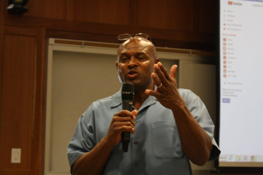 Ex-cop+and+associate+professor+of+criminal+justice+Dr.+Pernell+Witherspoon%2C+spoke+passionately+at+the+Stockley+Forum.++%3Cbr%3E+Photo+by+Matt+Hampton