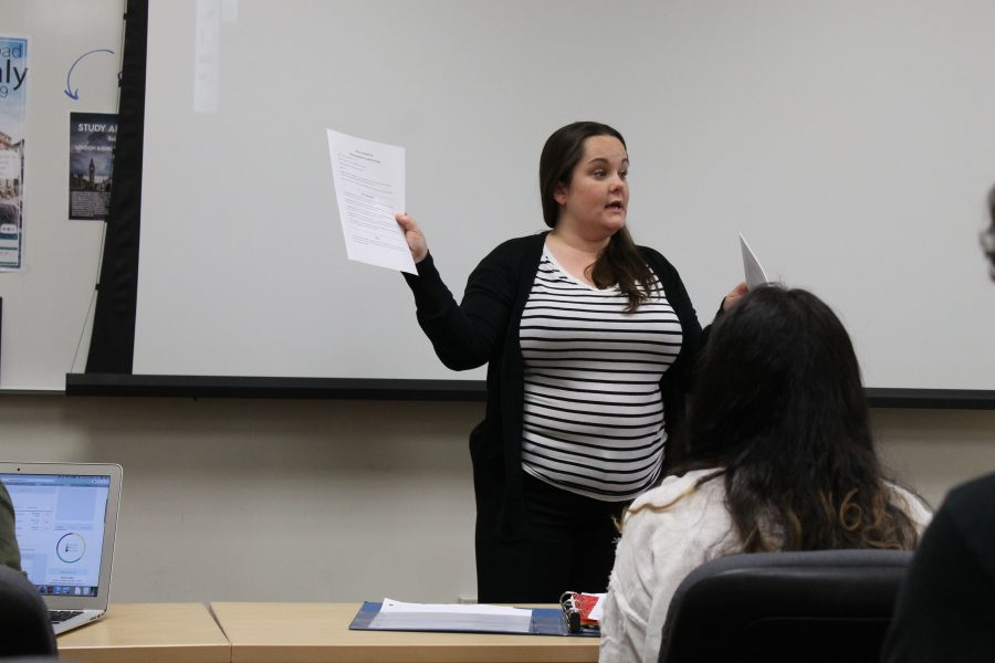 Lindenwood Alumna Rebecca Lara teaches Survey of Dramatic Literature class on Tuesdays and Thursdays, which is the very same class that she had to take during her time as an undergraduate theater and speech education student over ten years ago.   Photo by Essi Auguste Virtanen
