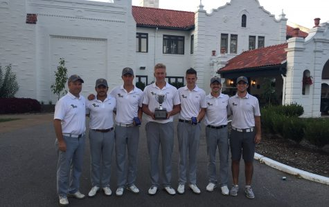 Lindenwood Men's Golf Team after winning The Arch Cup on Sept. 5. <br> Photo by Don Adams Jr.