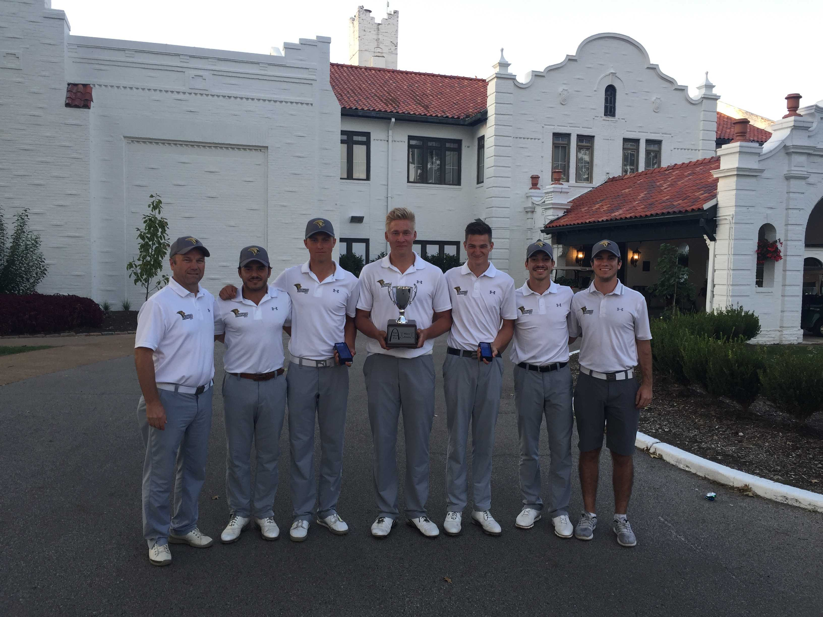 Lindenwood Men's Golf Team after winning The Arch Cup on Sept. 5.  Photo by Don Adams Jr.
