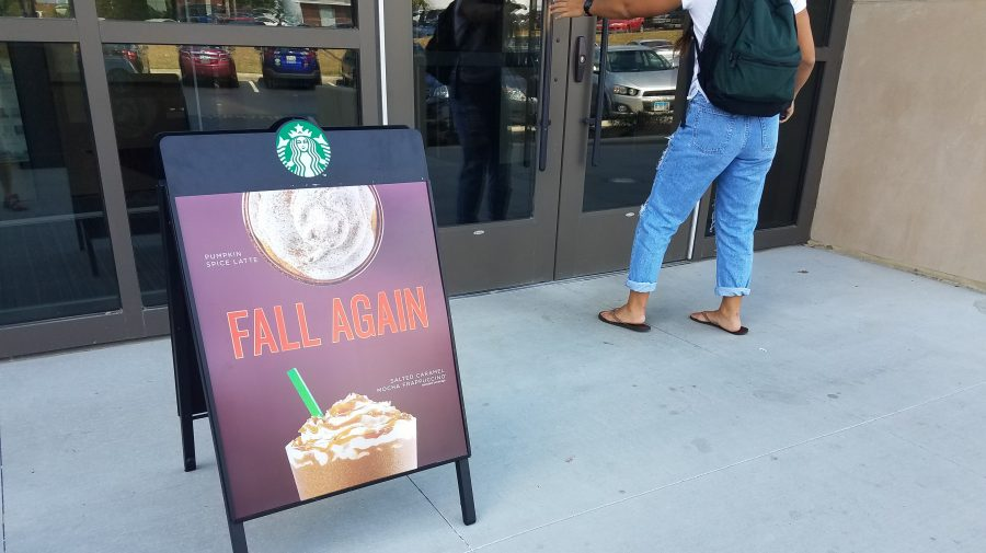 The Pumpkin Spice Latte, or PSL as referred to by fans, marks the start of fall in Starbucks fashion.  Photo by Kayla Drake.