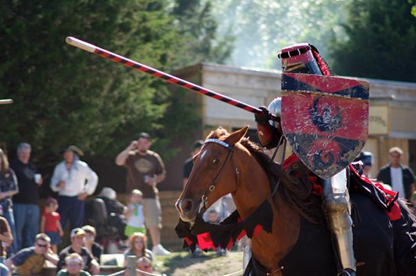 The red knight takes the field to defend the hand of the queen during the daily jousting re-enactments of the 2009 St. Louis Renaissance Festival.  Photo by Kat Owens.