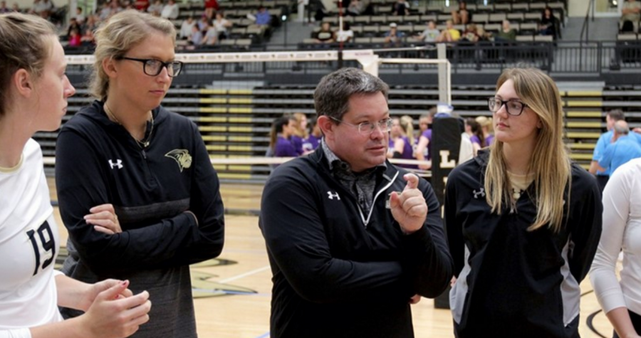 Lindenwood women's volleyball head coach Will Condon speaks to his team.   Photo by Don Adams Jr.