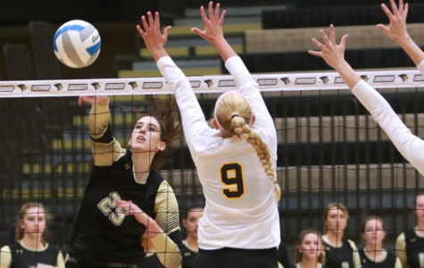 Emily Wylie hits the ball against Missouri Western Saturday at Hyland Arena. Lindenwood lost 1-3.. <br> Photo by Don Adams Jr.