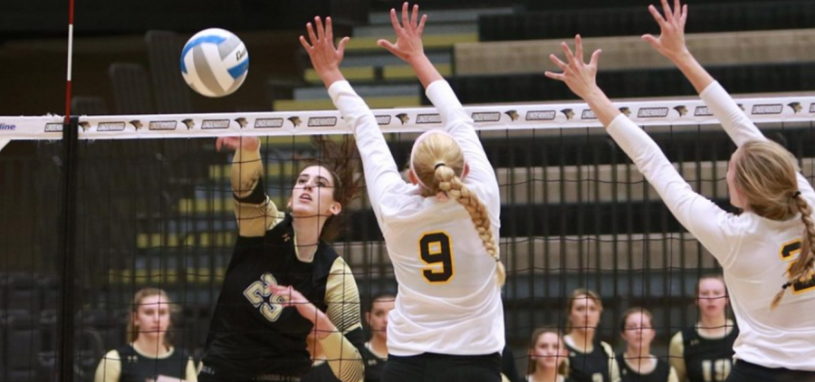Emily+Wylie+hits+the+ball+against+Missouri+Western+Saturday+at+Hyland+Arena.+Lindenwood+lost+1-3..++Photo+by+Don+Adams+Jr.