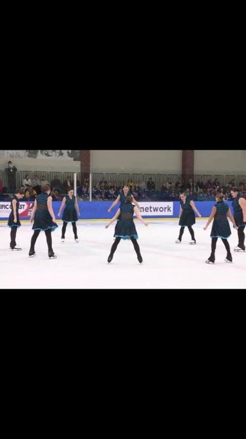 Lindenwood's synchronized skating team performing in unison in its final season as a collegiate program.  Photo by Delia Smith
