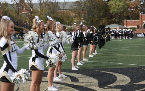 Lindenwood cheerleaders show their school spirit at a 2016 football game against Missouri Southern State University <br> Photo by Carly Fristoe
