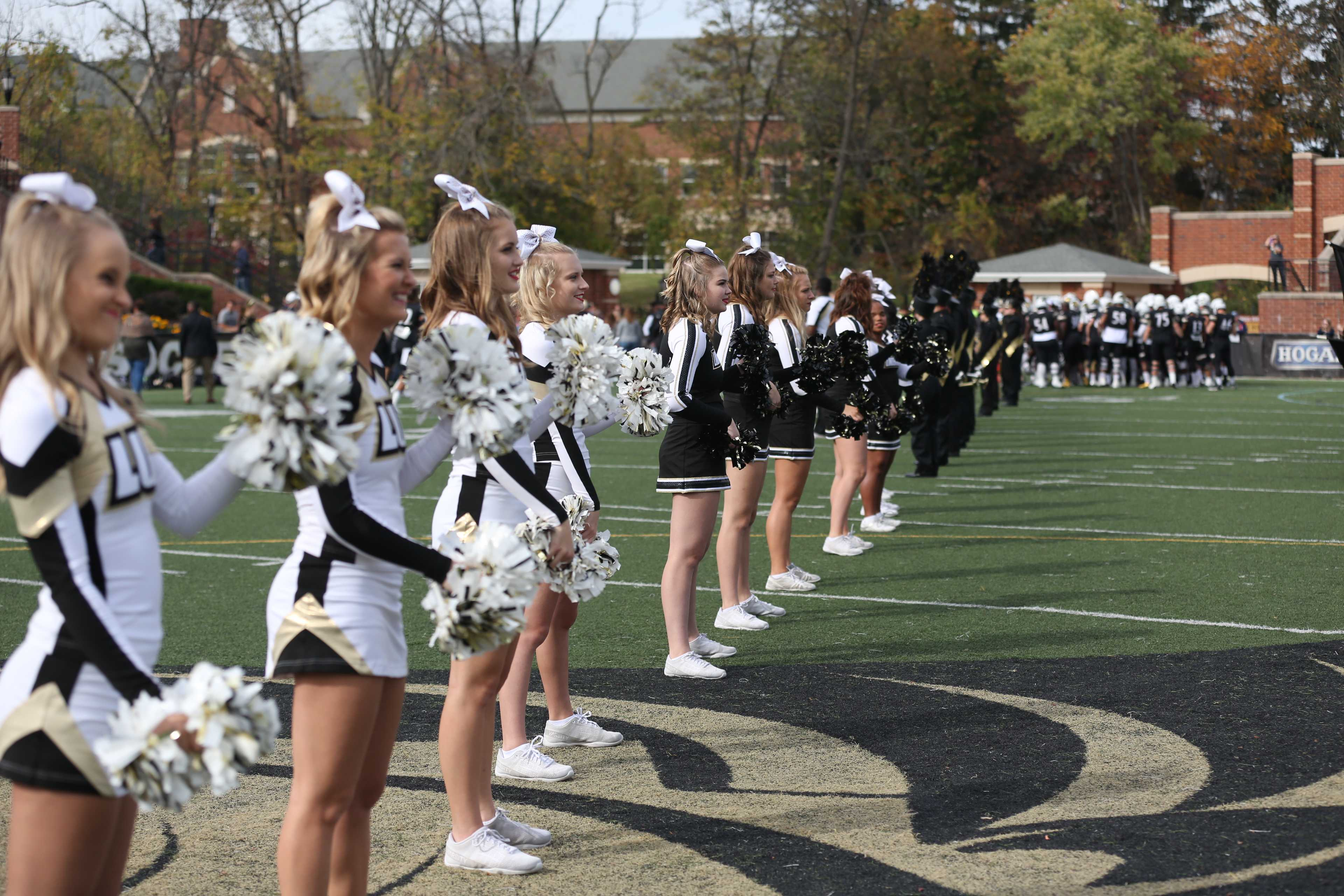 Lindenwood cheerleaders show their school spirit at a 2016 football game against Missouri Southern State University  Photo by Carly Fristoe