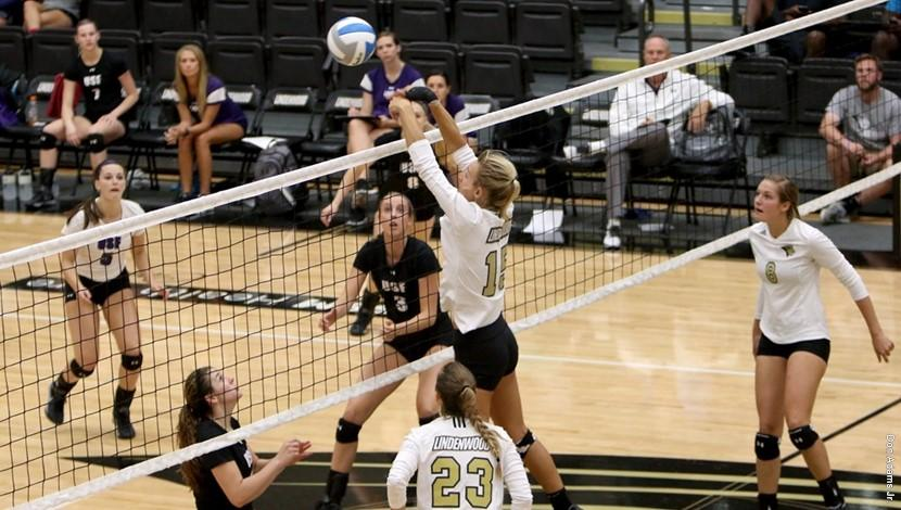 Alex Bogusz jumps up to block the ball during her 7 block performance against USF  Photo by Lindenwood Athletics