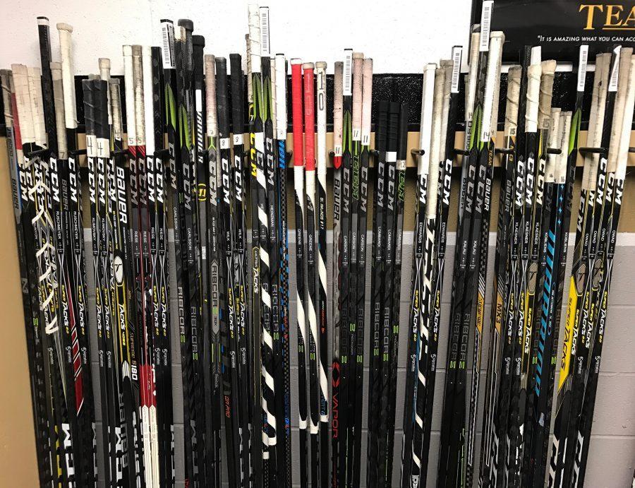 The+men%27s+hockey+team+have+new+hockey+sticks+for+the+season.++Photo+by+Alex+Kalau.