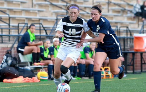 Lindenwood midfielder Alaina White competes for the ball with a University of Illinois Springfield player in their Aug. 5 clash. UIS won the game 1-0.