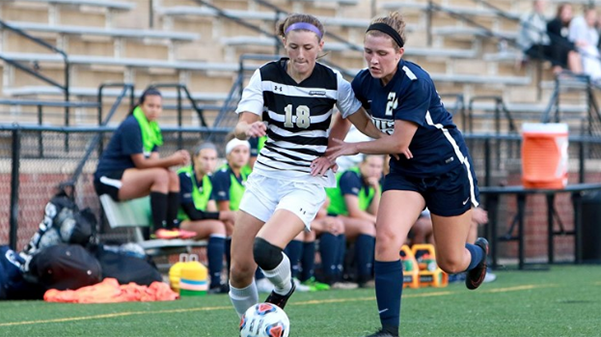 Lindenwood+midfielder+Alaina+White+competes+for+the+ball+with+a+University+of+Illinois+Springfield+player+in+their+Aug.+5+clash.+UIS+won+the+game+1-0.