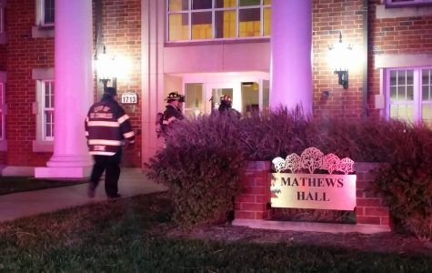 A fire alarm was triggered after someone set off a fire extinguisher in Mathews Hall early Saturday morning. <br>Photo by Moses Milan