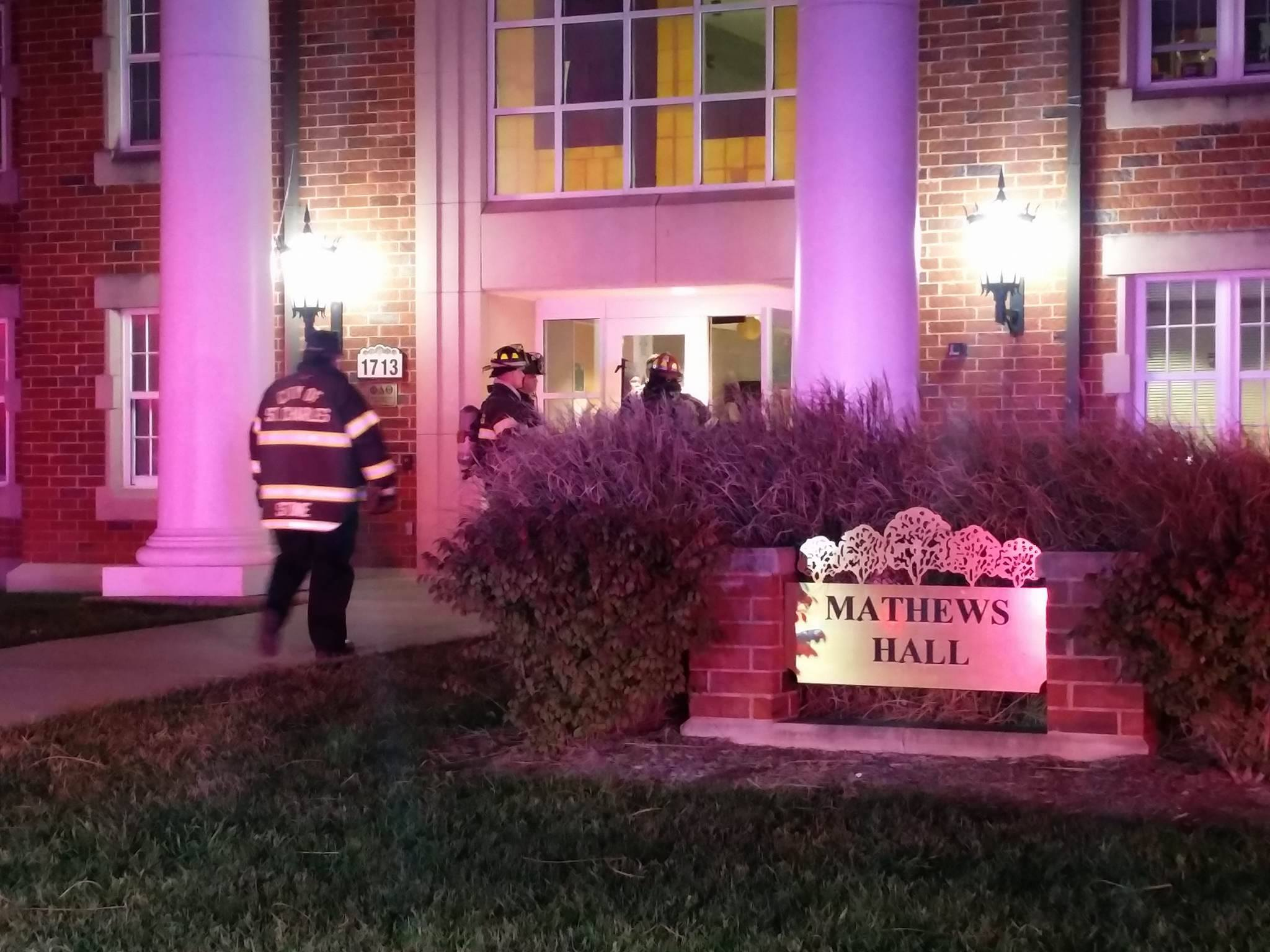 A fire alarm was triggered after someone set off a fire extinguisher in Mathews Hall early Saturday morning. Photo by Moses Milan