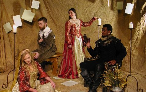 (From left) Lindenwood student Lexie Baker as Dorotea, Eric Kuhn as Cardenio, Shannon Lampkin as Luscinda and Jason J. Little as Fernando who all star in the main roles of the lost Shakespeare play