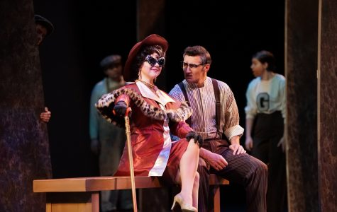 Brie Howard as Claire Zachanassian and Hunter Fredrick as Anton Schill  during