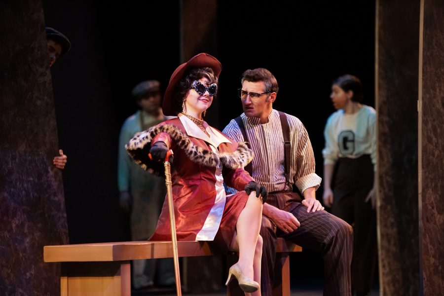 Brie Howard as Claire Zachanassian and Hunter Fredrick as Anton Schill  during The Visit dress rehearsal on Oct. 28 in the Lindenwood Theater. The show opens on Thursday, Nov. 2, and runs through Nov. 4.  Photo by Mitchell Kraus