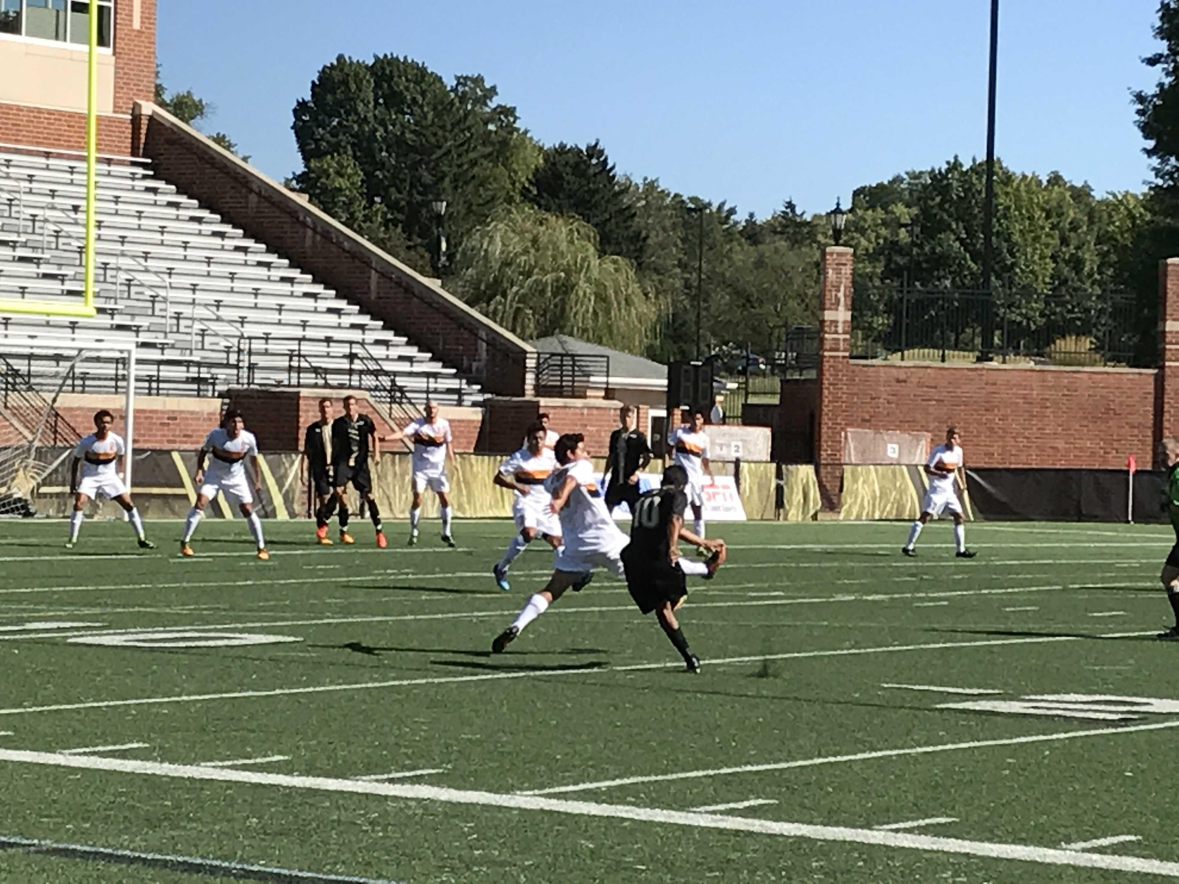 (10) Gabriel Jaimes attempts a shot on goal against Fort Hays State on Oct. 8 in Harlen C. Hunter Stadium.  Photo by Kyle Rhine