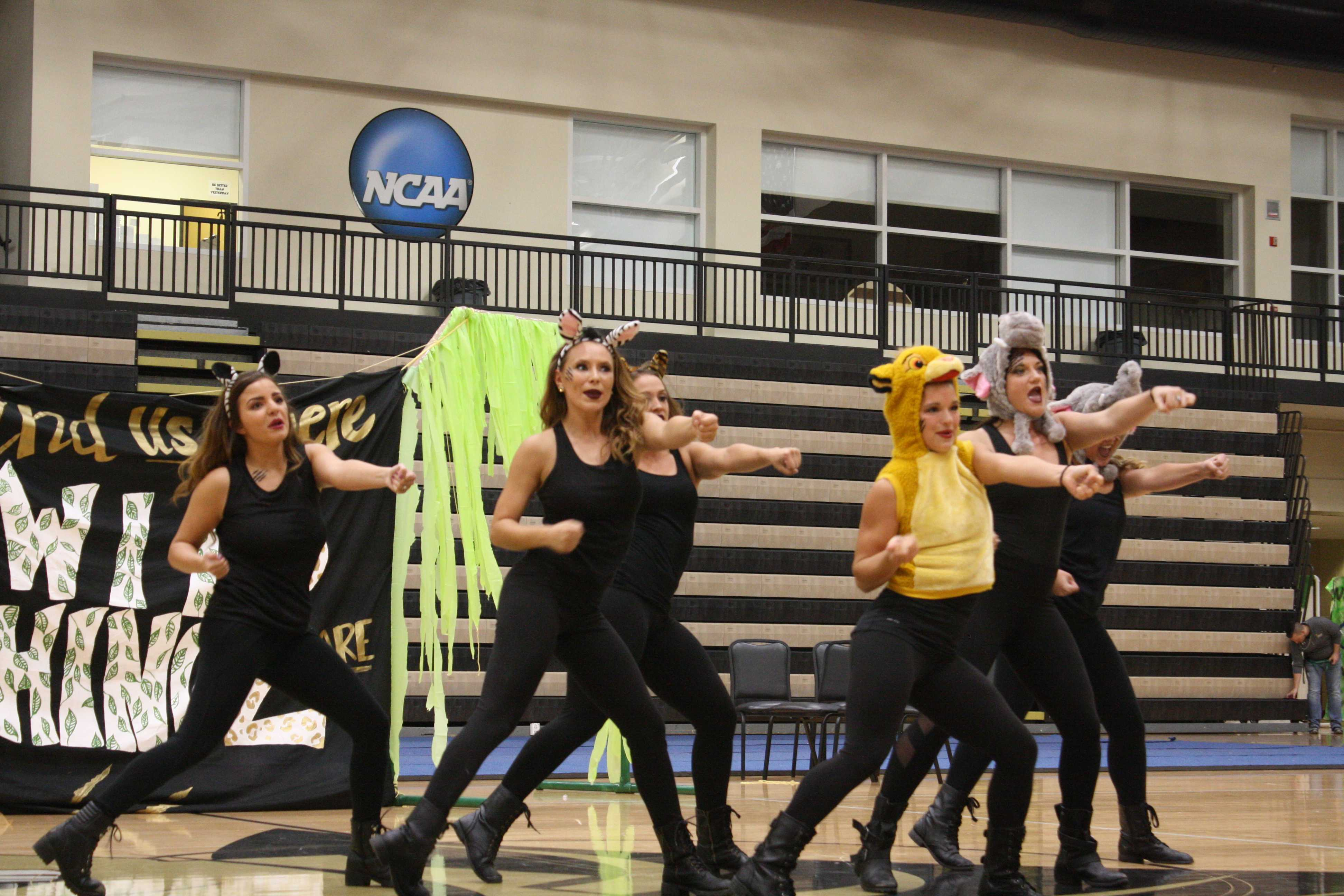 Delta Zeta members performing at the Lip Sync Competition on Oct. 12.   Photo by Matt Hampton
